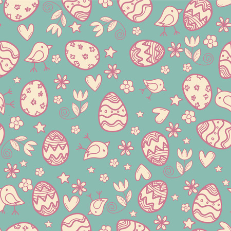 seamless doodle easter pattern with Easter eggs