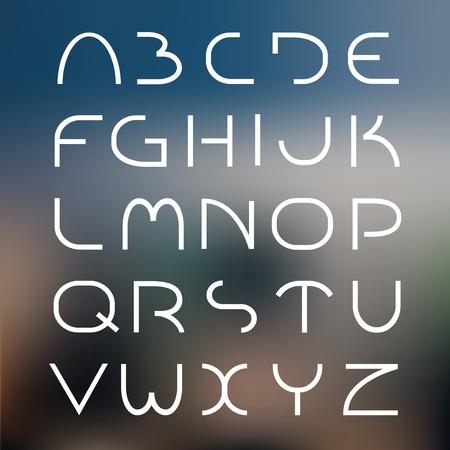 Thin futuristic font. alphabet minimal set