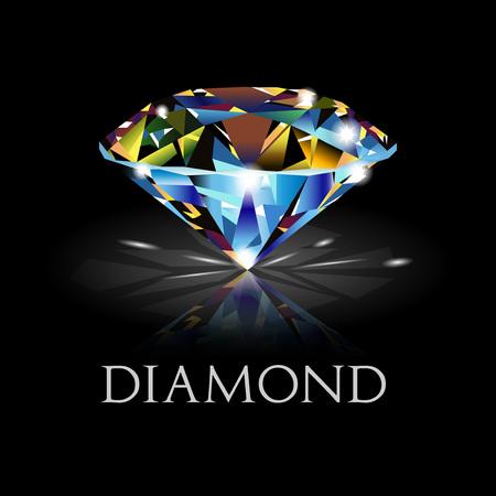 carats: Dazzling diamond on black background. diamond background.