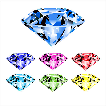 Cartoon gems and diamonds icons set in different colors on the white background.