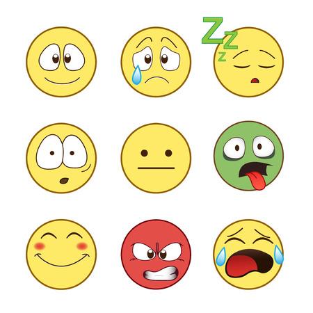 Set van emoticons, emoticons op een witte achtergrond, illustratie. Stockfoto - 55350730