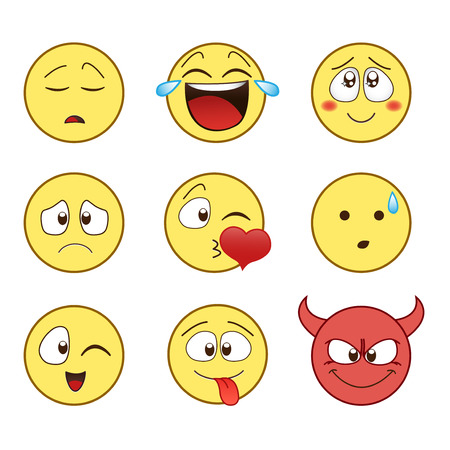 Cute Flat style smile face icons