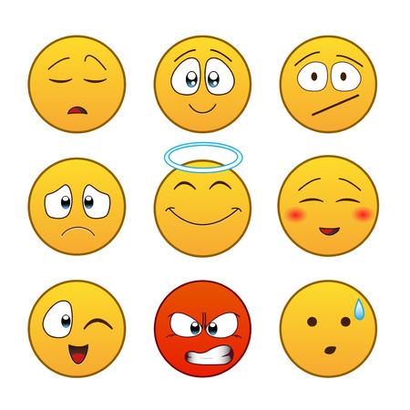 Set of emoticons, emoji isolated on white background, illustration.