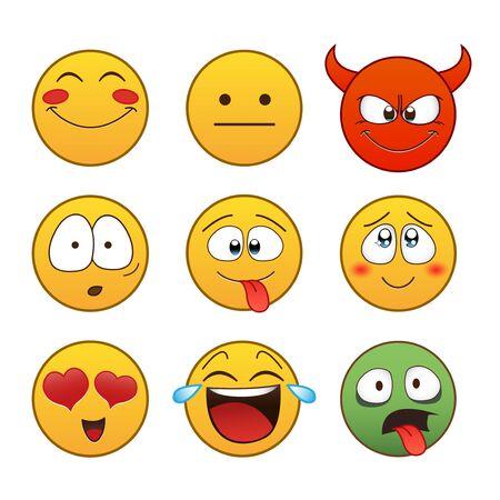 Set van Emoticons. Set van Emoji. Geïsoleerde illustratie op witte achtergrond Stockfoto - 55350734