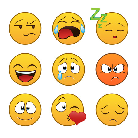 Set van emoticons, emoticons op een witte achtergrond, illustratie. Stockfoto - 55350733