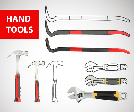 Construction hand tool collection -  silhouette. nail drawer, nail puller, nail extractor, claw, nail-catcher, tack drawer