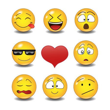 Set van Emoticons. Set van Emoji. Geïsoleerde illustratie op witte achtergrond Stockfoto - 56718895