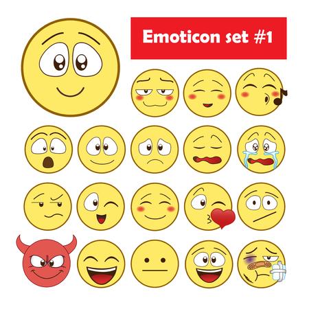 Set of Emoticons. Set of Emoji. Ilustração