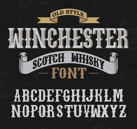 retro font: Winchester label font and sample label design with decoration and ribbon. Vintage Whisky font. Fine label whiskey font.
