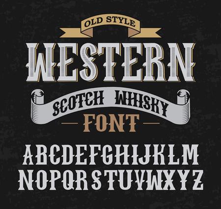 whisky bottle: Western label font and sample label design with decoration and ribbon. Vintage Whisky font. Fine label whiskey font. Old Style. Illustration