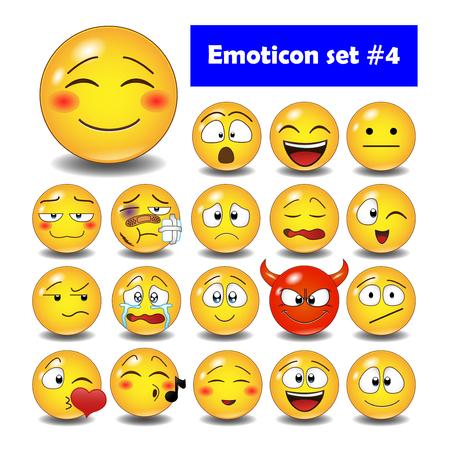 Set of cute smiley emoticons, emoji flat design, illustration. Vectores
