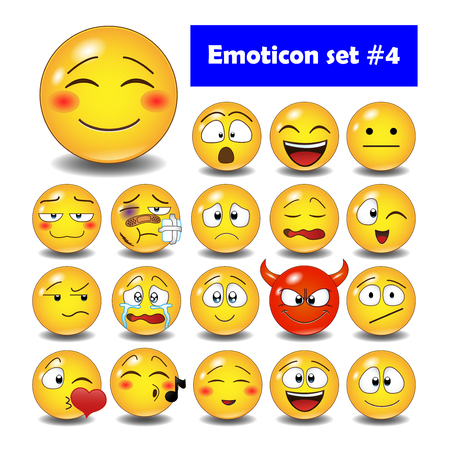 Set of cute smiley emoticons, emoji flat design, illustration. Vettoriali