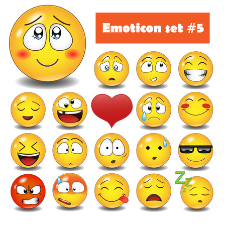 iconography: Cute emotional face icons. Smiley emoticons set. Illustration