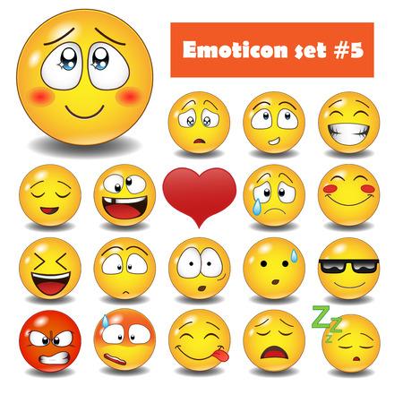 lachendes gesicht: Nette emotionale Gesichtsikonen. Smiley Emoticons eingestellt.