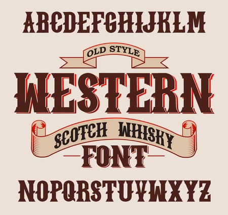 scotch: Western label font and sample label design with decoration and ribbon. Vintage Whisky font. Fine label whiskey font. Old Style. Illustration