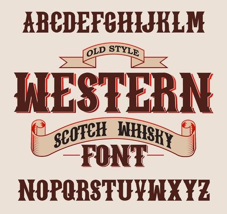 Western label font and sample label design with decoration and ribbon. Vintage Whisky font. Fine label whiskey font. Old Style. Ilustração