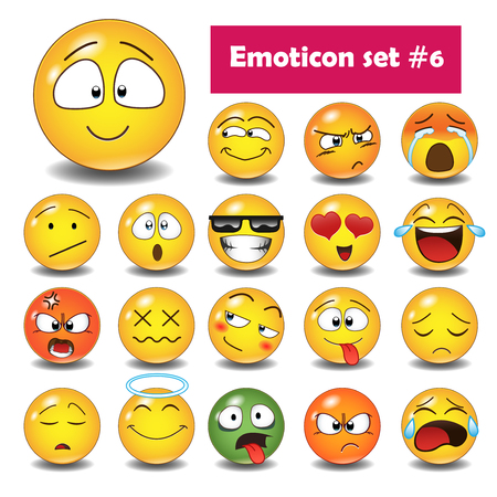 Set of cute emoticons, 3d emoji isolated on white background, vector illustration.