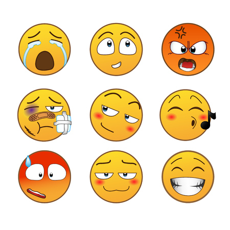 iconography: Set of Emoticons. Set of Emoji. Isolated vector illustration on white background