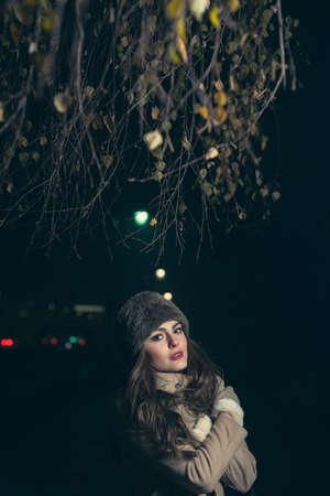 no snow: girl on cold night