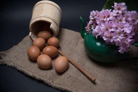 domestic: domestic eggs on jute