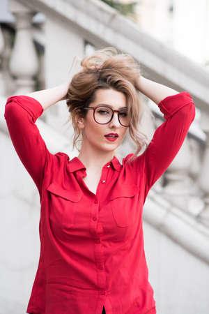 red shirt: cute girl in red shirt