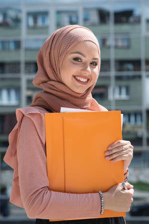 bussines people: student smiling Stock Photo