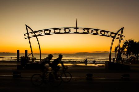 queensland: Surfers Paradise sign at sunrise, Queensland, Australia