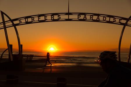 surfers: Surfers Paradise sign at sunrise, Queensland, Australia