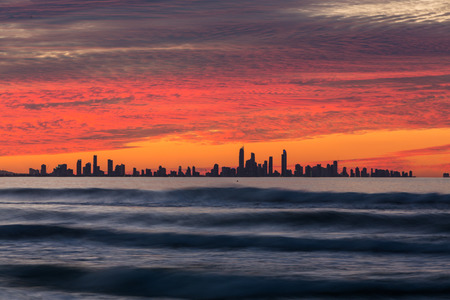 highrises: Sunset over Gold Coast, Queensland, Australia Stock Photo