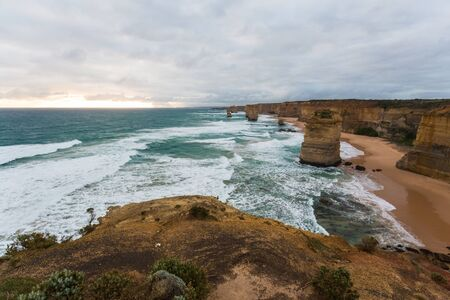 twelve: Twelve Apostles. Great Ocean Road. Australia on sunset Stock Photo