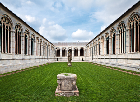 camposanto: The inner court of Campo Santo in Cathedral Square in Pisa, Italy. Also known as Camposanto Monumentale Stock Photo