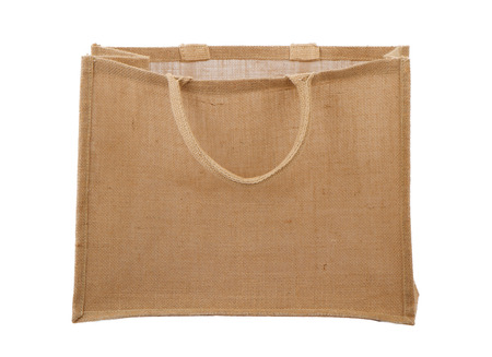 earth friendly: An empty earth friendly burlap reusable shopping bag Stock Photo