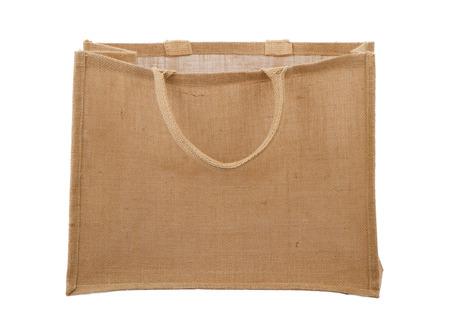 reusable: An empty earth friendly burlap reusable shopping bag Stock Photo
