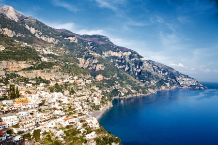 sorrento: A view of the seaside town of Positano that is built into the mountainside on the Amalfi Coast in Italy