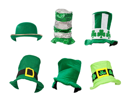 patricks: Six St. Patricks Day hats isolated on white for easy extraction. Images were taken on a model head for proper perspecive and easy placement on your subject.