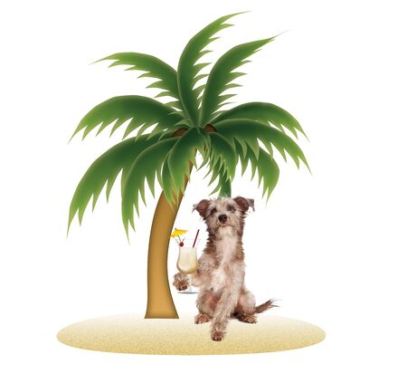A cute little terrier cross dog sitting on the sand of a little tropical island under a palm tree while holding a Pina Colada drink in a glass