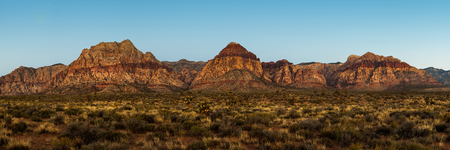 of pano: A majestic panoramic view of a mountain formation in Red Rock Canyon, Nevada, USA