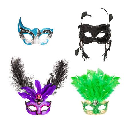 Vier sierlijke maskers voor Mardi Gras, Carnaval, Halloween of de opera Stockfoto