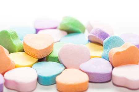 st valentine's day: A bunch of colorful St. Valentines Day candy hearts
