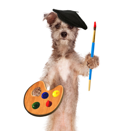 A dog painter wearing a beret and holding a paint palette and brush