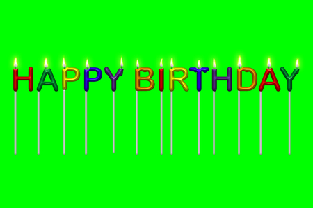 festive occasions: Illustration of colorful lit candles shaped as text spelling Happy Birthday. Isolated on chroma key green for easy isolation using color range selection. Stock Photo