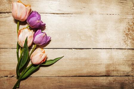 핑크와 퍼플 튤립 텍스트위한 공간 오래 된 나무 테이블에 휴식. 오래 된 질감 된 사진 필터 효과 적용.