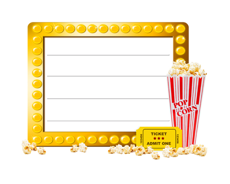 white red: Illuminated show sign with blank copy space, popcorn and a ticket