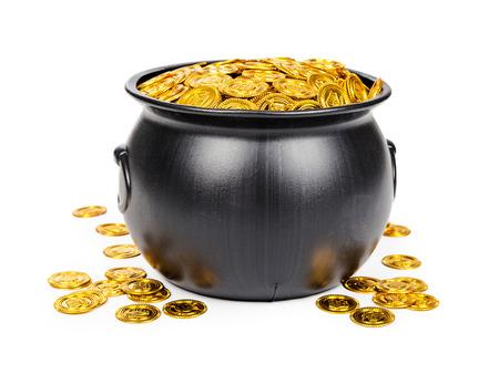 Large black pot filled with gold coins Stok Fotoğraf