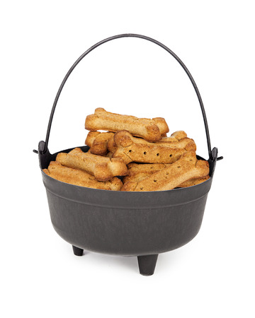 dog biscuit: Pot shaped as a Halloween witch cauldron filled with dog treat biscuits Stock Photo