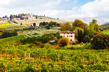 Beautiful scene of vineyards and farmhouses in the countryside of the Tuscany region of Italy.