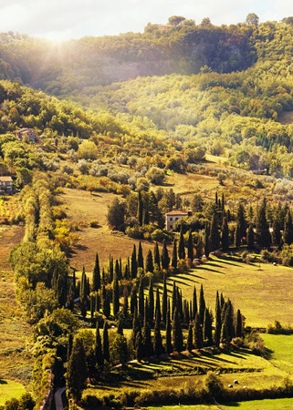 Beautiful scene of rolling hills in the countryside of the Tuscany region of Italy at sunrise