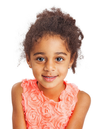 and four of the year: Closeup photo of a cute mixed race young four year old girl Stock Photo