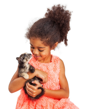 and four of the year: Happy four year old girl and kitten looking at each other. Isolated on white. Stock Photo