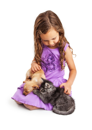 heartfelt: Cute young caucasian girl with long hair petting kitten and puppy. Isolated on white Stock Photo